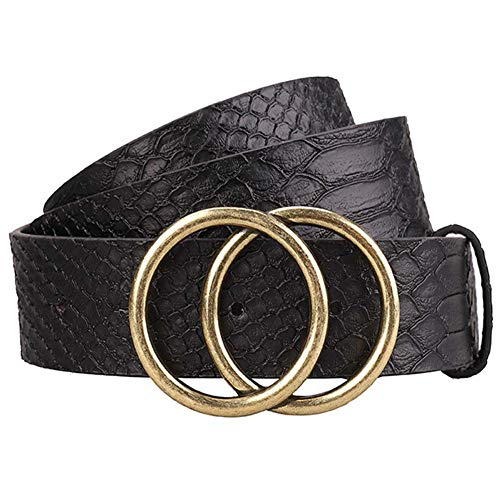 Cinturón de cuero para mujer Pantalones vaqueros Pantalones Vestido Cinturón de cintura Estampado de serpiente de cuero con hebilla de doble anillo o, Negro