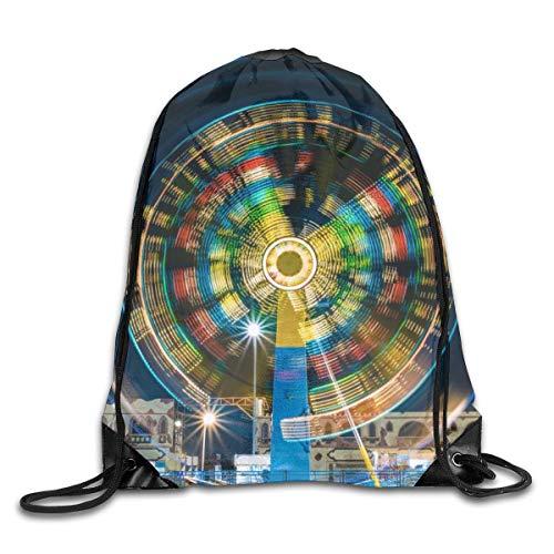GHMJVHFG Spinning Rainbow Ferris Wheel Drawstring Bag Stylish Cute Print Lightweight Sackpack Sport Gym Bundle Backpack Theme Novelty Outdoor Classic -