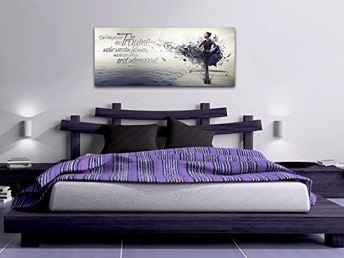 Dalinda XXL-Wandbild Leinwandbild mit Spruch Träume. 100x40cm Keilrahmenbild Kunstdruck Wandbild Panorama Leinwandbild LS038