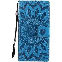 DENDICO Moto G6 2018 Case, Premium PU Leather Wallet Flip Case, Sun Flower Pattern Folio Magnetic Case for Moto G6 2018 - Blue