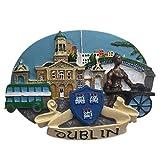 Weekinglo Souvenir Frigorífico Imán Dublin Irlanda 3D Resina Artesanía Hecha A Mano Turista Viaje Ciudad Recuerdo Colección Carta Refrigerador Etiqueta
