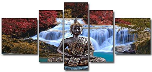 DekoArte 18 – Cuadro moderno de Buda en catarata, lienzo de 5 piezas, 180 x 85 cm