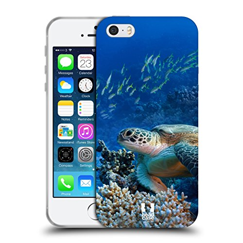 Head Case Designs Tartaruga Di Mare Seduta Sulla Barriera Corallina Animali Selvatici Cover Morbida In Gel Per iPhone 5 iPhone 5s iPhone SE