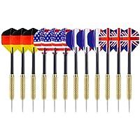 12 fléchettes à pointe avec drapeau national Ohuhu (4styles) pointe de l'aiguille en acier inoxydable fléchettes avec 3 tiges en PVC gratuites