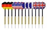 Ohuhu 12 Pcs Tip Dardos con la Bandera Nacional Vuelos (4 Estilos) - Acero Inoxidable Aguja Tip Dart con 3 Libres de PVC Dart Varillas