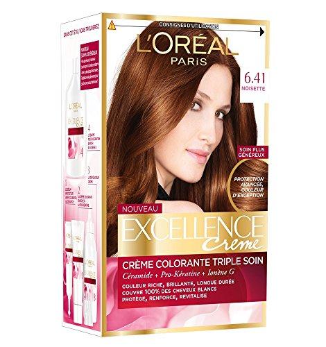 L'Oréal Paris - Excellence Crème - Coloration Permanente Triple Soin 100% Couverture Cheveux Blancs - Nuance 6,41 Noisette - Lot de 2