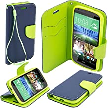 Moozy dos colores Fancy Diary Libro funda Flip con Stand / correa para la muñeca / soporte de silicona para HTC Desire 820 Azul / Verde claro
