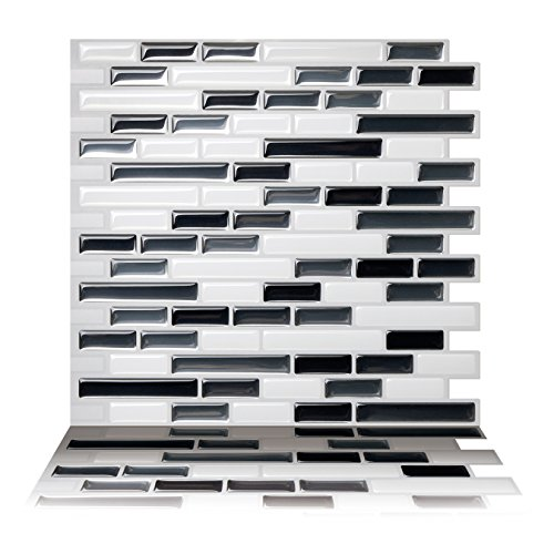 Tic Tac Tiles Anti Mold schälen und stecken Wand-Fliese Aufkantung In Como Grau 5 10