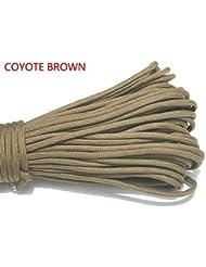 Sacoora - Cuerda de paracaídas de 100FT, nailon de 550, tipo III, 7 hilos, Marrón (Coyote Brown)