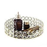 Feyarl perline di cristallo rotondo vassoio gioielli organizzatore cosmetici vassoio specchio decorativo vassoio per la casa profumo cura della pelle (23x 23x 4cm) (oro)