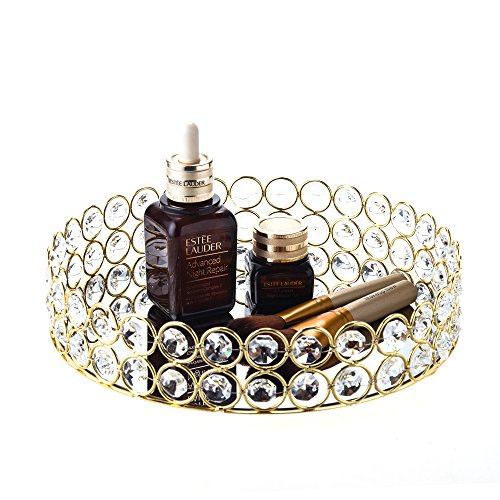 Feyarl Kristall Perlen Kosmetische Tablett Rund Jewelry Organizer Eitelkeit Tablett verspiegelt Dekoratives Tablett für Home Parfum Haut Pflege (23 x 23 x 4 cm) (Gold) (In Der Masse Handwerk-perlen)