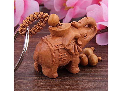 QWhing Titular Clave Llavero Elefante lingote Caoba