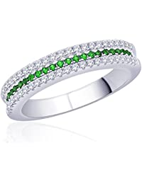 Diwali Gifts Peora Sterling Silver Rhodium Micro Pave CZ Green With Envy Ring (PR525G-6)