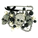 Brooches Store Skull Heads Chain & Pearl Beads Gothic Charm Safety Pin Fashion B