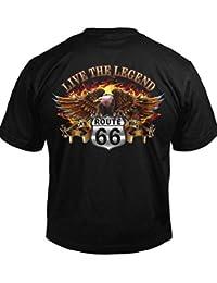 FGYOEO HSGDD Live The Legend Route 66 Biker T-Shirt Men s tee (6.1oz 7f3860f7db260