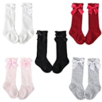 Z-Chen Pack of 5 Pairs Unisex Baby Kids Knee High Socks Stockings, 5 Mixed Color, S (0-2 Years)
