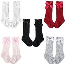 Z-Chen Pack de 5 Pares Calcetines altos de bebé niña con lazo, ...