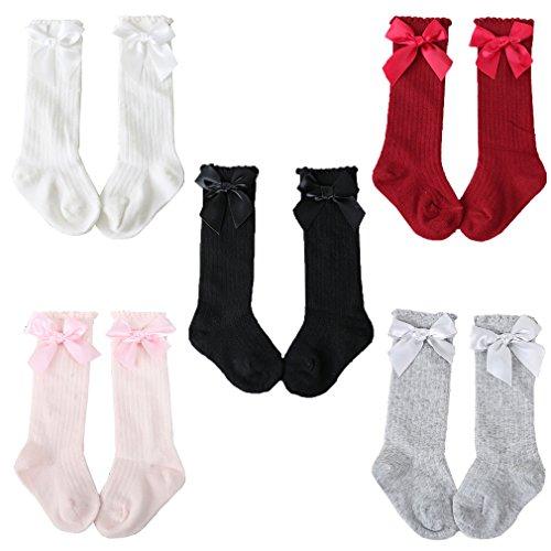 Z-Chen Pack de 5 Pares Calcetines altos de bebé niña con lazo, 2-4 Años