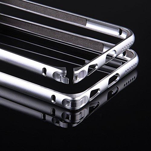 EGO® Aluminium Bumper Metal Case für iPhone 5 / 5s Gold Slim ALU Bumper Case Cover Schutz Hülle mit Panzerglas Silber