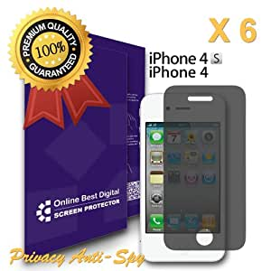 OBiDi - Apple iPhone 4S / 4 Screen Protector, Anti-Spy / Privacy - OBD Retail Packaging (Pack of 6)