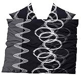 Leonado Vicenti Winter Fleece Bettwäsche Weiß Schwarz Anthrazit grau Kreise kuschel flausch warm Bezug Kissen, Maße:200 x 200 cm