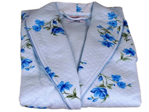 Damen Exquisit Gesteppter Morgenmantel - Hellblau Hellblau