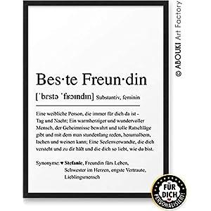 BESTE FREUNDIN Definition ABOUKI Kunstdruck Poster Bild mit Namen personalisiert Geschenk-Idee Frauen Freundinnen…