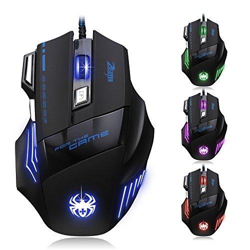 Zelotes (Genre) 7200DPI Professional Gaming Mouse, 7boutons LED optique USB Souris filaire souris ergonomique pour joueur PC Mac (Noir)