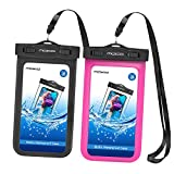 MoKo Funda Impermeable - [2-Pack] Waterproof Case Universal Brazalete y Correa de Cuello para iPhone 7/7 Plus/iPhone 6s/ 6s Plus Galaxy S10 S10 Plus S10e y Smartphone 5.7 Pulgadas, Negro + Fucsia