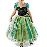 Cacilie® Prinzessin Kostüm Kinder Glanz Kleid Mädchen Weihnachten Verkleidung Karneval Party Halloween Fest (110 (Körpergröße 110cm), Anna #06)