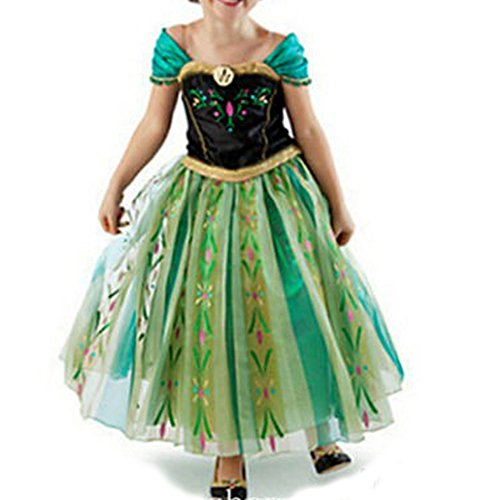 Cacilie® Prinzessin Kostüm Kinder Glanz Kleid Mädchen Weihnachten Verkleidung Karneval Party Halloween Fest (130(Körpergröße 130cm), Anna #06)
