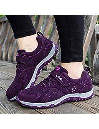 shoe Zapatos para Caminar de la Madre, Zapatos Deportivos de Mediana Y Vieja Edad, Zapatos Viejos Mágicos Y Pegajosos,Púrpura,36