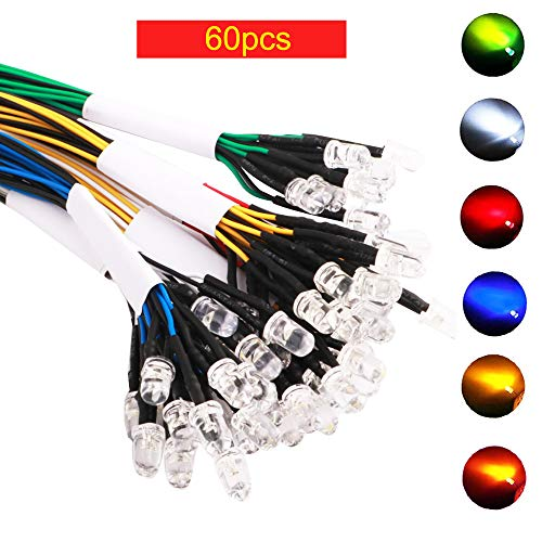 Preisvergleich Produktbild RUNCCI 60pcsVorverdrahtete LED-Dioden Licht, 12V vorverdrahtetes Licht,  5 mm LEDs vorverdrahtetes Licht (Weiß Warm Weiß Rot Blau Grün GelbJeder10Pcs