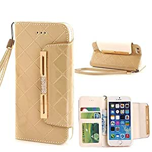 iPhone 6S Case,iPhone 6S Wallet Case,iPhone 6S Case Leather,ACO-UINT Premium Grid Pattern Flip Wallet Leather Magnetic Closure Cover Skin Case for iPhone 6S 4.7'' & iPhone 6 4.7'' (Grid - Golden)