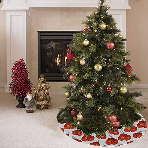 ZHANGhome Weihnachtsbaum Rock Nette Farbige Kreative Boxhandschuhe Drucken Baum Sockelleiste Polyester Günstige Weihnachtsbaum Rock Teppich Für Party Urlaub Dekorationen Weihnachten Ornamente