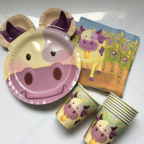 * LUSTIGE Kuh * mit Teller + Becher + Servietten + Deko // Kindergeburtstag Kinder Set Partygeschirr Geburtstag Party Mottoparty Motto Luftballons Cow Birthday Farm Bauernhof ()