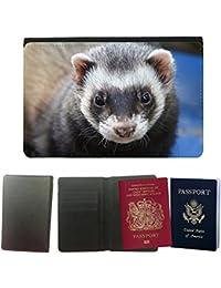 Couverture de passeport // M00134970 Hurón Animal Eyes Cerrar // Universal passport leather cover