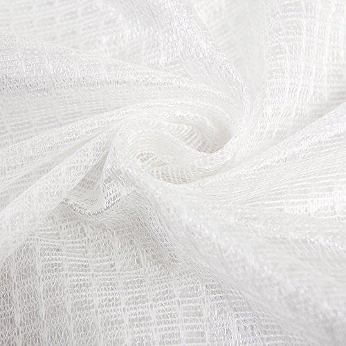 Woltu 1pezzo tenda voile trasparente a con occhielli, douceur per interni per finestra 3dimensioni, vari colori a scelta # 304, blanc avec motif Étoiles, 140x225 cm