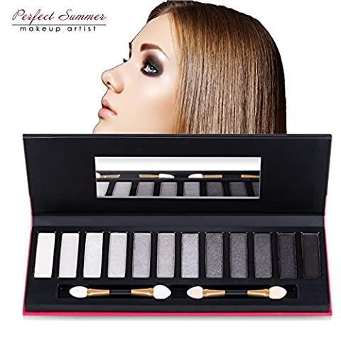 Perfect Summer Makeup 12 Colors Smokey Eyeshadow Palette Kit Glitter Shade Cosmetic #001, 18g