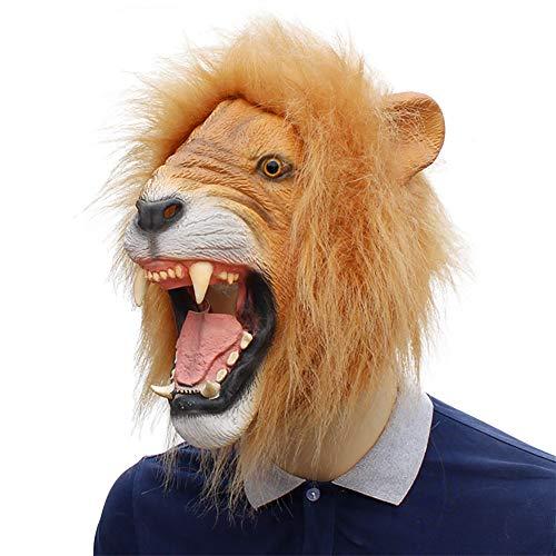 TBGGFSD Halloween Orrore Pazzo Tier Malerei Löwe Kopf Maske langes Maske Realistisches Leone Reale Kopf Set Openlion