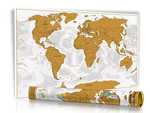 HEUTE 8,97€ - NEU - Rubbel Weltkarte -Gold- Limited Edition 2016 in Geschenkrolle mit Metalldeckel - XXL Design Rubbel Weltkarte - mit 3D Relief-Optik (einzigartiges Berg und Ozean Relief) - Original Wenschow seit 1918 - (Dünn laminiert: beschreib- & abwischbar + Länderfarbschutz beim Rubbeln)