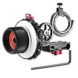 Neewer A-B Parada sigue el enfoque con la correa del anillo de engranajes para Canon Nikon Sony y otra cámara réflex digital DV de vídeo y más , se ajusta a sistema de fabricación de película de varilla de 15 mm , soporte de hombro, estabilizador, rig plataforma de cine (rojo y negro)