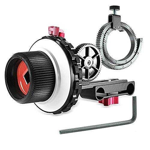 Neewer A-B Stop Focus C2 mit Zahnrad-Riemen für DSLR-Kameras wie Nikon, Canon, Sony DV / Camcorder / Film / Videokameras, passend für 15 mm Rutenhalter, Schulterstütze