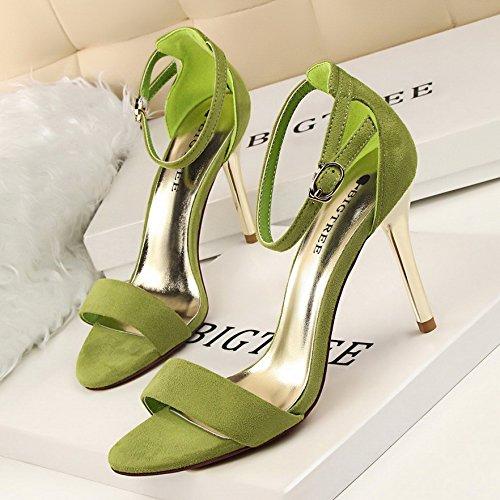 Sandalo Modo Femmina Di Verde Camoscio Tacco 38 Lgk Semplice Calzature Elegante All'inizio Per Metalli Ed FYSnwUTqd