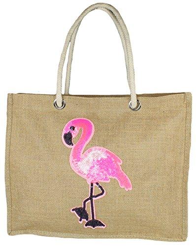 Mevina Damen Einkaufstasche aus Jute Strandtasche Handtasche Flamingo Pailletten Patch Shopper Flamingo A1358 (Pailletten-jute)