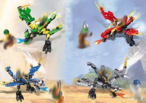 Modbrix 4 Stück Ninja Drachen Bausteine Set inkl. 6 Minifiguren, 410 Teiliges Konstruktionsspielzeug