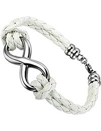 Flongo Joyería Pulsera de cuero Brazalete Manguito, símbolo infinito charms, trenzada pulsera blanca de mujer