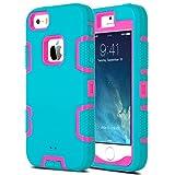 ULAK iPhone 5S Case, iPhone SE Case 3in1 Shockproof Combo Hybrid Hard Rigid
