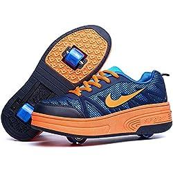 Enfants chaussures à roulettes double roue chaussures de sport technique extérieur de skateboard extensible gymnastique baskets garçons filles,Darkblue2wheels,36EU