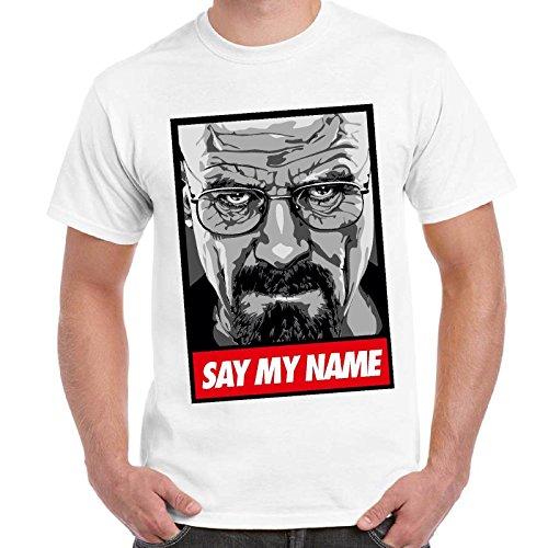 CHEMAGLIETTE! - Maglietta Breaking Bad Heisenberg Say My Name T-Shirt Maglia Maniche Corte Uomo, Colore: Bianco, Taglia: M